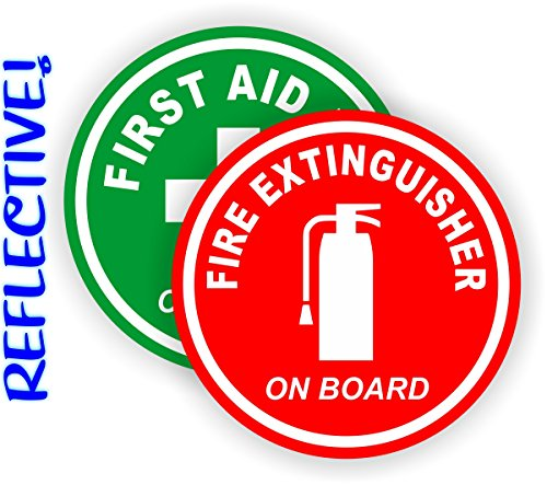 REFLECTIVE 3-inch Round Fire Extinguisher | First Aid Kit on Board Vinyl Decals | Jeep Stickers | 4x4 Labels Pair