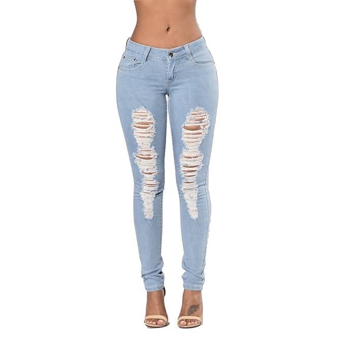Strappati Skinny Elastici Chiaro CasualAmazon Pantaloni itAbbigliamento Colore Bassa Jeans Donna Classici Vita 3JlFTKc1