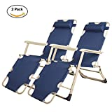 Lucky Tree 2 Pack Portable Chaise Lounge Chair Pool Camping Seating Chair Flat Floding Cot Recliner for Outdoor Indoor