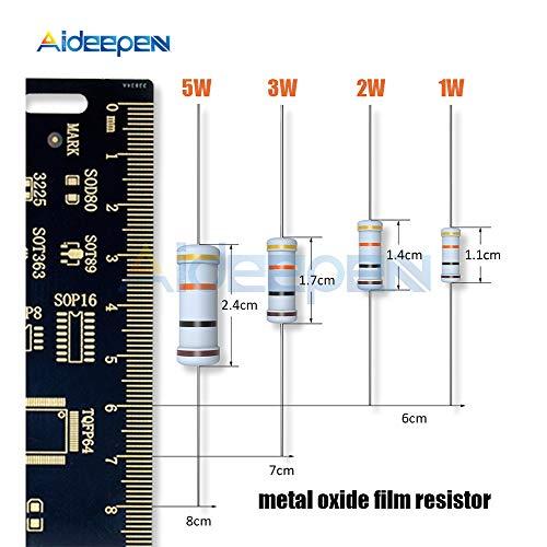Maslin 5% 1W 2W 3W 5W Metal Oxide Film Resistor 1R ~ 1M 100R 220R 330R 1K 2.2K 4.7K 10K 22K 47K 100K 100 220 330 ohm Resistance - (Volume: 1W 100pcs, Value of Resistance: 1R) ()