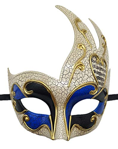 Biruil Men's Masquerade Mask Venetian Muscial Mardi Gras Ball Fancy Costume Party Eyemask (Crack Blue) -