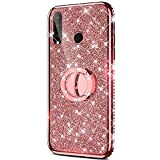 Case for Huawei P30 Lite Glitter Case,Sparkly Glitter Bling Diamond Rhinestone Bumper with Ring Kickstand Flexible Soft Rubber TPU Protective Case Cover for Huawei P30 Lite Case Girl Women,Rose Gold