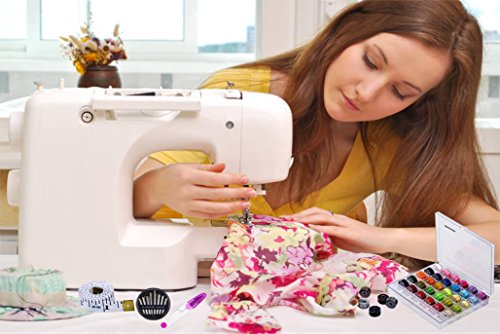 Paxcoo 36 Pcs Transparent Plastic Sewing Machine Bobbins with Case and Soft Measuring Tape for Brother Singer Babylock Janome Kenmore