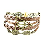 FuzzyGreen® Harry Potter Braided Rope Leather Bracelet - Snitch Angel Wings with Owl and Deathly Hallows Charm Bracele+Gift