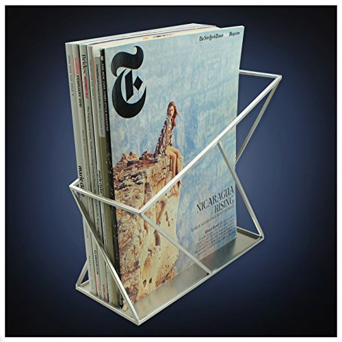 ArtsOnDesk Modern Art Magazine Holder st214 Stainless Steel Satin Finish Patent Applying for--File Holder Newspaper Book Brochure Rack Organizer Box Basket Christmas Thanksgiving Gift (Magazine Holder Steel Stainless)