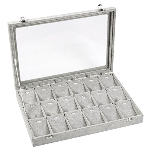 Jewelry Box – Pendant Display Case, Jewelry Holder, Storage Box for Necklaces, Pendants, Earrings with Transparent Glass Top, 18 Removable Pads, Grey - 13.75 x 2 x 9.5 Inches by Juvale