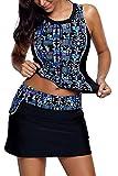AlvaQ Women Bathing Suit Women Two 2 Piece Tankini Swimsuit Tops Skirt Plus Size 2X