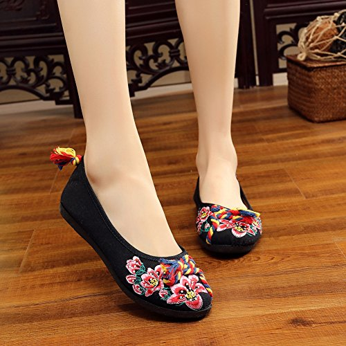 AvaCostume Womens Bombax Embroidery Color Knot Flats Dancing Shoes Black hEoX2kzT