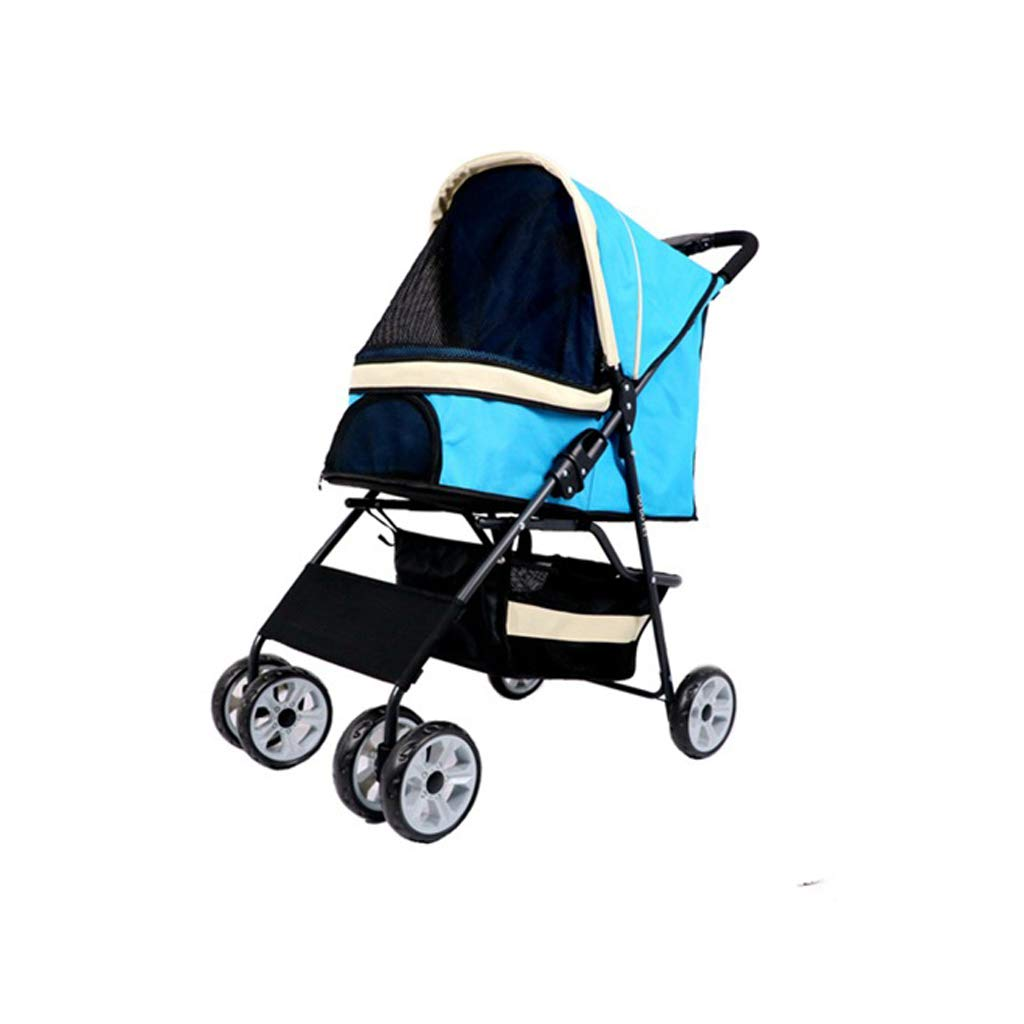 bluee 4 Pet Stroller, Go Out Walking Shopping 15 Kg Medium Foldable 34 Wheels Travel Dogs Cats Cart Jogger(bluee Green Red) (color   Green 3)