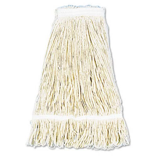 UNISAN Pro Loop Web/Tailband Wet Mop Head, Cotton, 24oz, White, 12/Carton by Unisan