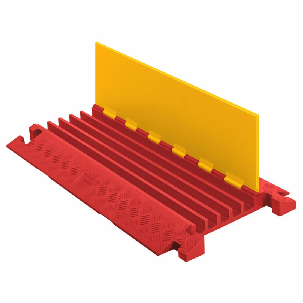 Linebacker CP5X125-Y/O Polyurethane Extra Heavy Duty 5 Channel Cable Protector with T-Shaped Connectors, Yellow Lid with Orange Ramp, 36'' Length, 20'' Width, 2.31'' Height