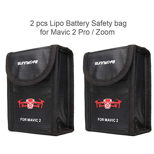 DJI Mavic 2 Pro/Zoom Accessories 2pcs x Fireproof Lipo Satefy Bag - Heat-Resistance Protective Cover Explosion-Proof Li-po Safe Guard Bag Pouch Charging Storage Holder (Battery is NOT Included)