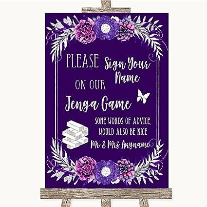 Letrero de boda con diseño de jenga, color morado y plateado Framed Black Small: Amazon.es: Oficina y papelería