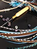 Feather Hair Extensions 21pcs kit-10 feathers 6-11''+ long Genuine Bohemian Rooster grizzly and solid The 'American Indian Collection' Turquoise and Naturals