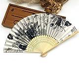 Gray Japanese Chinese Handmade Pocket Fan Plum Blossom Flower Print Folding Hand Fans Matrimonio