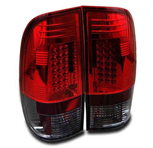 ZMAUTOPARTS Ford F150 F250/ Sd Styleside LED Rear Tail Lights Lamps Red/Smoke Set