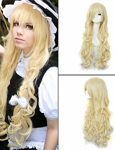 xzl Pelucas de la manera moda gosick Victorique de Blois 150cm larga peluca rubia de anime