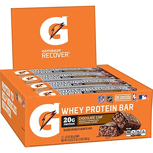 Gatorade Whey Protein Recover Bar, Chocolate Chip, 2.8 Ounce Bars (12 Count)