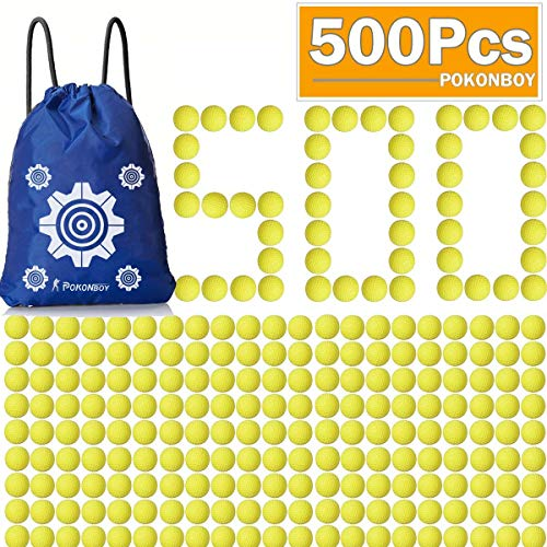 POKONBOY Upgraded 500-Round Rival Balls Refill Pack Compatible with Nerf Rival Apollo, Zeus, Atlas and Artemis Blasters (Storage Bag Included)