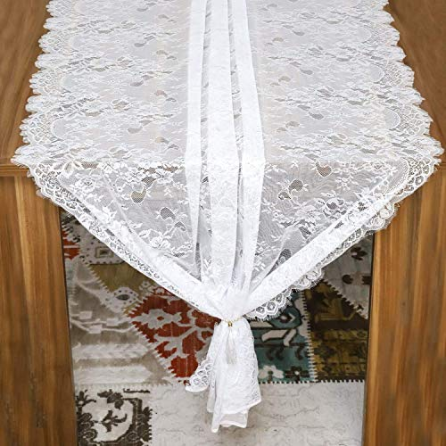 Embroidered and Durable White Lace Table Cloth-Feminen 44''x120'' with Floral Fringe-Rectangular Table-Perfect for Outdoor and Chic Wedding and Bridal/Baby Shower Decorations (1 -