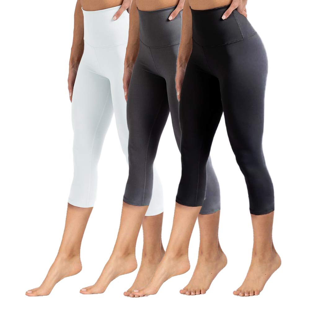 YOLIX High Waisted Capri Leggings for Women Tummy Control Soft Opaque Slim Tights for Cycling, Running, Daily (3 Pairs, Black+Dark Grey+White, One Size (US 2-12)) by YOLIX