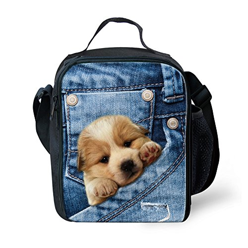 Nopersonality - Bolsa de almuerzo para niñas con aislamiento, bolsa de almuerzo, contenedor de alimentos Denim Pocket Pet7 Denim Pocket Pet5