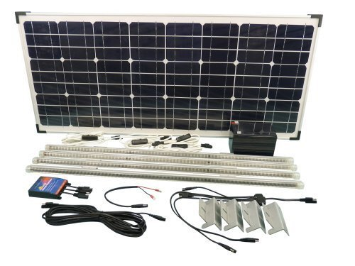 63W Solar Panel Lighting Kit for Shed Stable Workshop Garage & Outbuildings