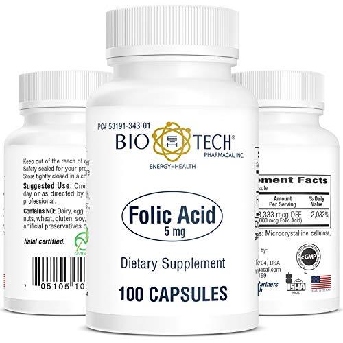 Bio-Tech Pharmacal Folic Acid 5 Milligram | Folic Acid - 100 Capsules           ()