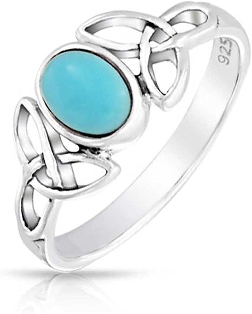 Bling Jewelry Anillo Triquetra Celta Nudo Trinidad Adolescente con Azul Turquesa Estabilizada 925 Diciembre Piedra De Nacimiento