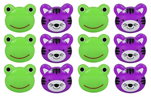 Set of 12 Purple Tiger and Green Frog Novelty Animal Face Bag Clips, Chip Clips, Paper Clips! by Black Duck Brand