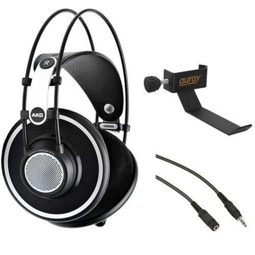 - AKG K 702 Reference-Quality Open-Back Circumaural Headphones with Clamp On Headphone Holder and Stereo Mini Male to Stereo Mini Female Extension Cable 25'