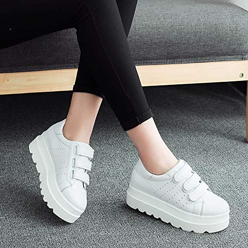 poliuretano Round Scarpe Comfort ZHZNVX donna Creepers Toe PU Sneakers Bianco Fall da White Nero FxxnqR