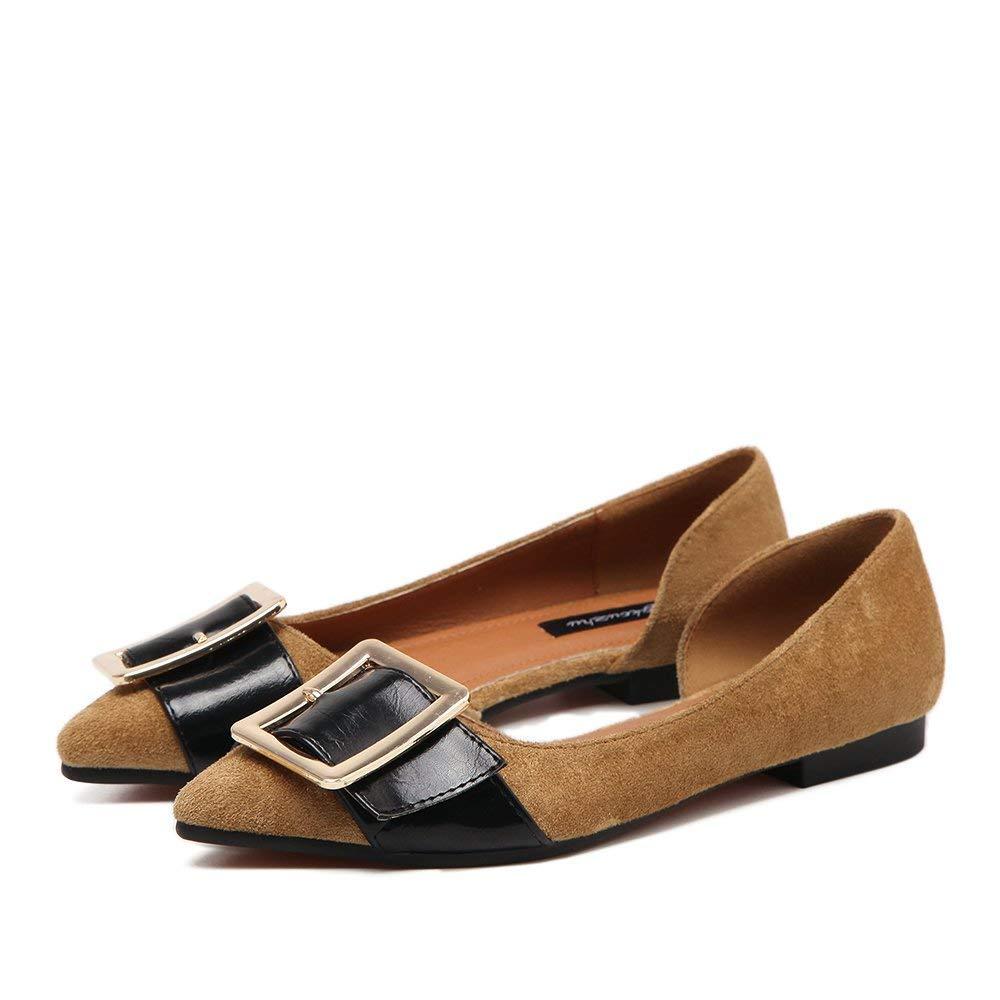 Eeayyygch Gericht Schuhe wies Flache Schuhe Seite Leere Seite Schnalle flach mit einzelnen Schuhe weibliche Freizeitschuhe Damenschuhe Coole Schuhe, 37, Khaki (Farbe : -, Größe : -)