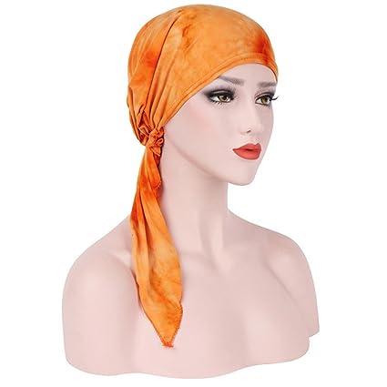 Turca Mujer Estilo India Musulmán Estiramiento Retro Tinte Algodón Turbán Sombrero  Cabeza Bufanda Envoltura Cap 5dfbf4be6afa
