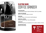 Chefman Coffee Grinder / Electric Burr Freshly Grinds Up to 8 oz Beans, Large Hopper and 17 Grinding Options for 2-12 Cups, Cleaning Brush Included