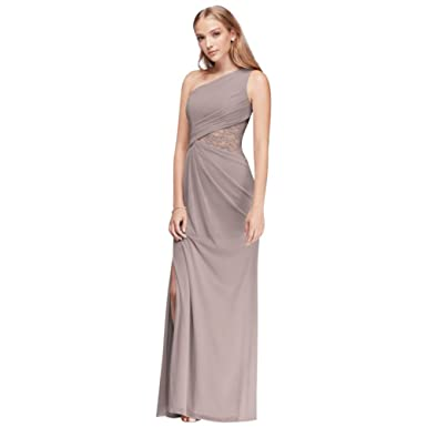 f62da63b6 One-Shoulder Mesh Bridesmaid Dress with Lace Inset Style F19419, Cameo, 0
