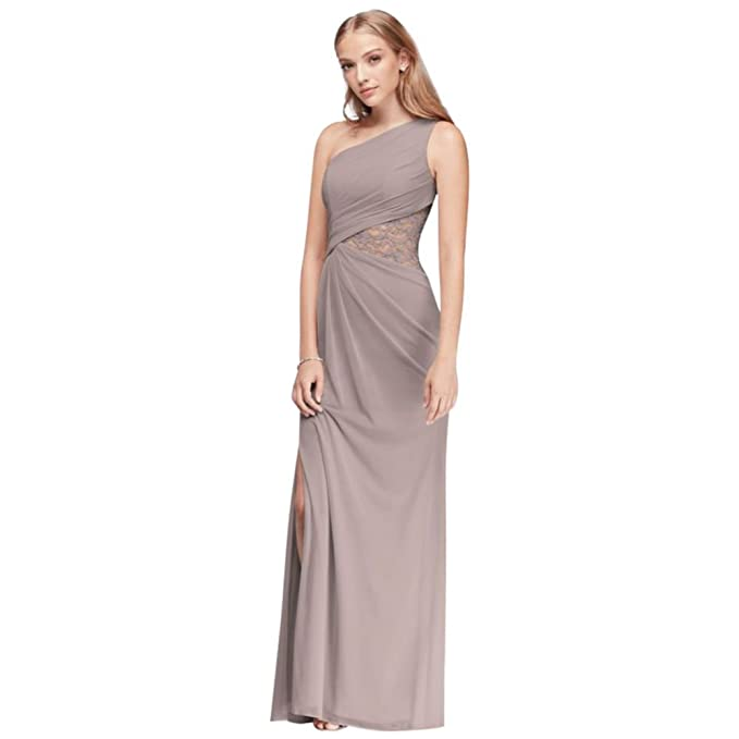 One Shoulder Mesh Bridesmaid Dress With Lace Inset Style F19419