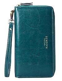 Wallets Women Large Capacity Genuine Leather Zip Purse Clutch Travel Wrist Strap
