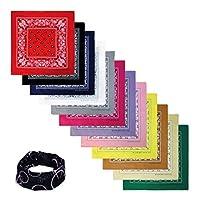 """Bandana de 100% algodón con envoltura para la cabeza Básica 12 paquetes de 22 """"x22"""" ** Varios colores ** ((B) 12 colores de Paisley surtidos)"""