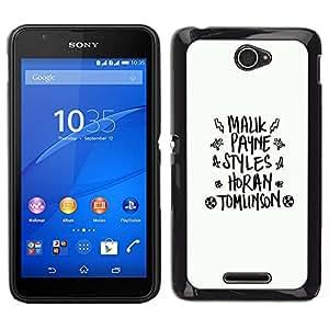 Caucho caso de Shell duro de la cubierta de accesorios de protección BY RAYDREAMMM - Sony Xperia E4 - blanco dios negro de texto la moda abstracto