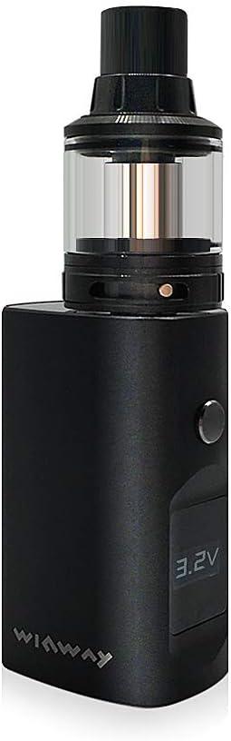 WINWAY Winmod MINI Cigarrillo E. Vapeo Kit Box MOD, Rellenado Superior 0.5ohm, Tanque Atomizador 2.0ml Sub-Ohm, 900mAh Recargable, Pantalla LCD Pluma Vapeo Cig. E. Sin E-Líquido, Sin Nicotina (Negro)