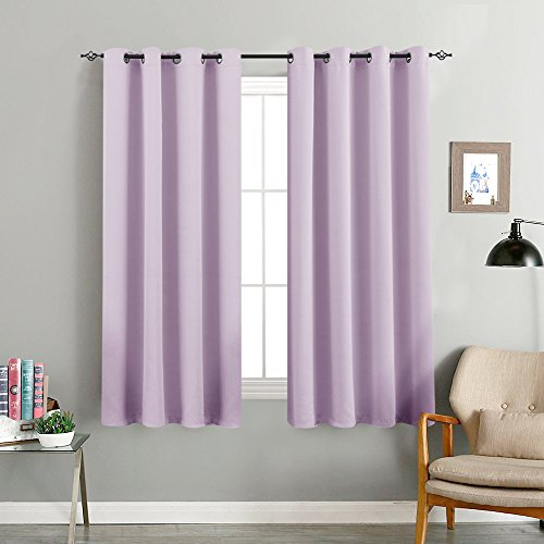 """Light Filtering Curtains for Living Room Bedroom Light Blocking Triple Weave Draperies, Grommet Top, 1 Pair, 63"""", Lilac"""