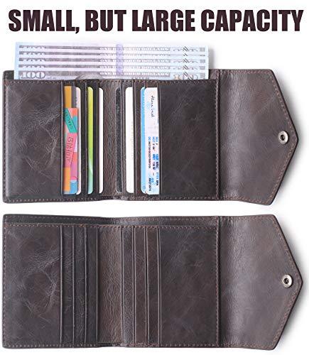 Oil Ladies Rfid Women's Bifold Coffee Wallet Wax Leather Mini Blocking Pocket Purse Small Sx44wv0q