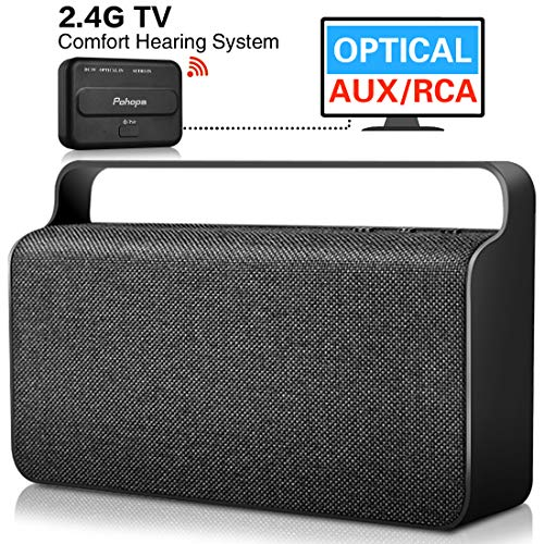 Wireless TV Speaker - Pohopa Wireless Speakers for TV Watching,with Transmitter(Optical, 3.5mm AUX, RCA) Compatible Samsung LG Sony Toshiba Philips TCL ect TVS