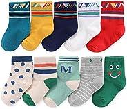 CHUNG Toddler Little Boys Cotton Crew Socks 10 Pack Stripe Car Dinosaur Animal 2-12Y Ankle Autumn