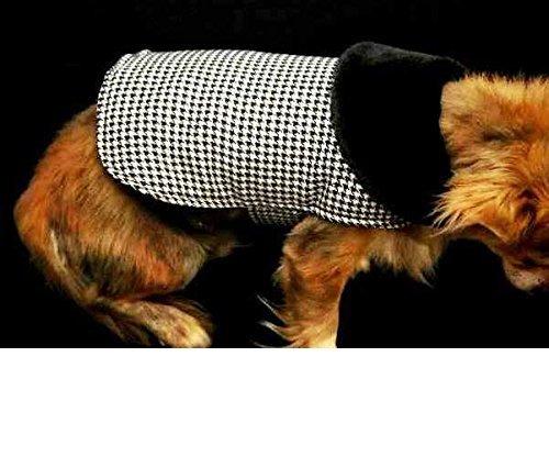 Houndstooth Dog Fur Collar Coat- Large