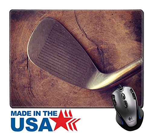 """Price comparison product image MSD Natural Rubber Mouse Pad/Mat with Stitched Edges 9.8"""" x 7.9"""" golf clubs on wood background old retro vintage style IMAGE 30064897"""