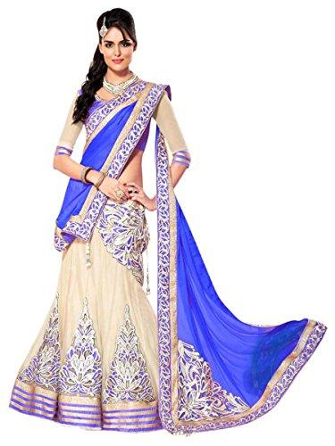 Shopaholic Women's Net Designer Lehenga Choli Free Size Multi - Net Sarees In India