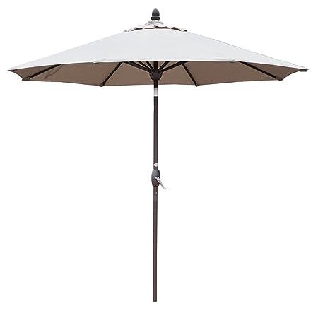 SORARA Sunbrella Patio Umbrella 9-Feet Outdoor Market Table Umbrella with Auto Tilt Crank Umbrella Cover, 8 Ribs, Canvas Antique Beige