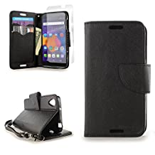 CoverON® for Alcatel One Touch Idol 3 (4.7 inch) Wallet Case [CarryAll Series] Flip Credit Card Phone Cover Pouch with Screen Protector and Wristlet Strap - (Black / Black)